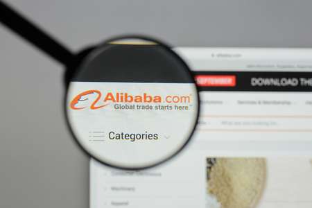 Milan, Italy - August 10, 2017: Alibaba website homepage. It is a Chinese e-commerce company. Alibaba logo visible.