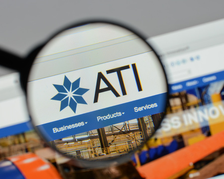 Milan, Italy - August 10, 2017: ATI website homepage. It is a specialty metals company. Allegheny Technologies  logo visible.