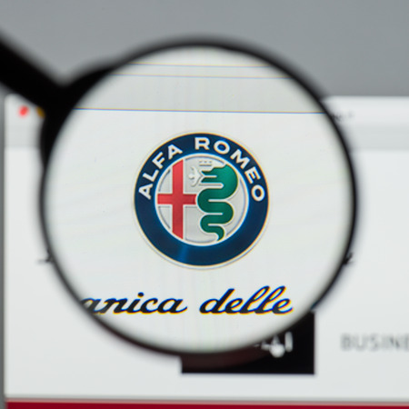 Milan, Italy - August 10, 2017: Alfa Romeo website homepage. It is an Italian car manufacturer. Alfa Romeo logo visible. Editorial