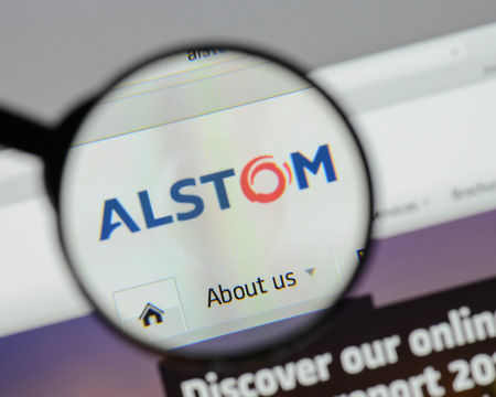 Milan, Italy - August 10, 2017: Alstom website homepage. It is a French multinational company operating worldwide in rail transport markets. Alstom logo visible. Editorial
