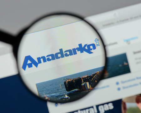 Milan, Italy - August 10, 2017: Anadarko Petroleum website homepage. It is an American petroleum and natural gas exploration and production company . Anadarko logo visible.