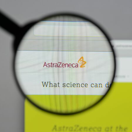 Milan, Italy - August 10, 2017: Astra Zeneca logo on the website homepage.