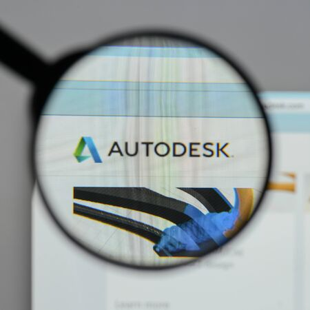 Milan, Italy - August 10, 2017: Autodesk  logo on the website homepage.
