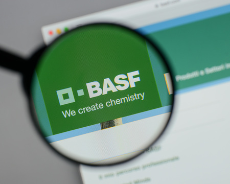 Milan, Italy - August 10, 2017: BASF  logo on the website homepage. Sajtókép