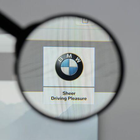 Milan, Italy - August 10, 2017: Bayerische Motoren Werke AG BMW logo on the website homepage. Editorial