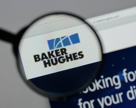 Milan, Italy - August 10, 2017: Baker Hughes logo on the website homepage. 報道画像
