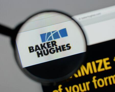 ミラノ、イタリア - 8月 10, 2017: ベーカーヒューズのロゴは、ウェブサイトのホームページ上.