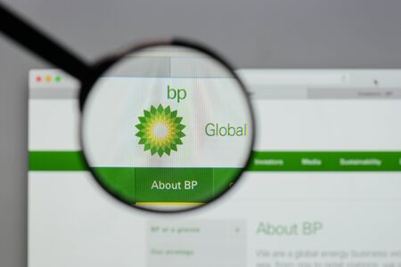 Milan, Italy - August 10, 2017: BP  logo on the website homepage.