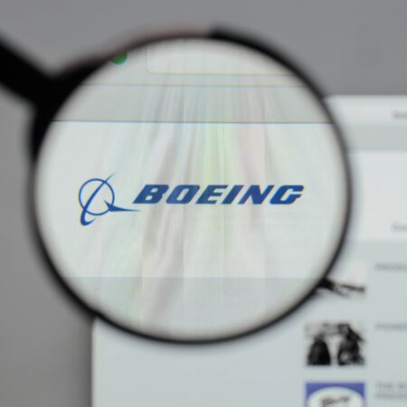 Milan, Italy - August 10, 2017: Boeing logo on the website homepage.