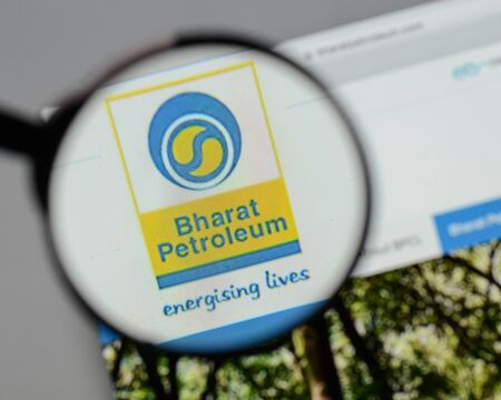 Milan, Italy - August 10, 2017: Bharat Petroleum logo on the website homepage.