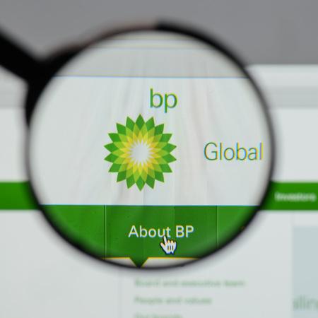 Milan, Italy - August 10, 2017: BP  logo on the website homepage.