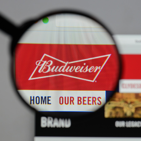 Milan, Italy - August 10, 2017: Budweiser  logo on the website homepage. Editorial