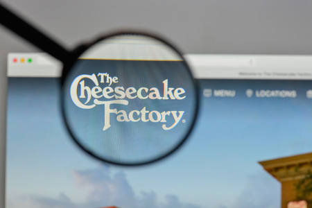 Milan, Italy - August 10, 2017: Cheesecake Factory logo on the website homepage.