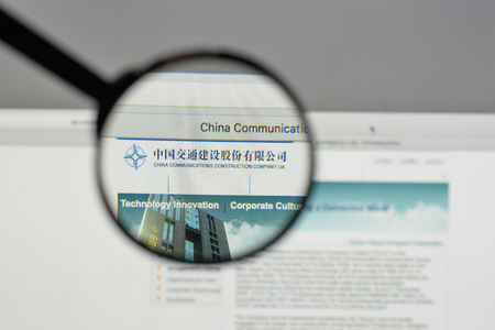 Milan, Italy - August 10, 2017: China Communications Construction logo on the website homepage.