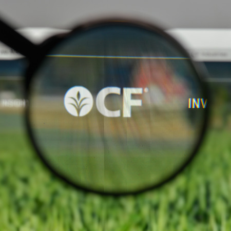 Milan, Italy - August 10, 2017: CF Industries Holdings logo on the website homepage. Editorial