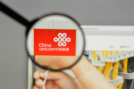 Milan, Italy - August 10, 2017: China Unicom logo on the website homepage.