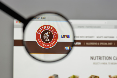 Milan, Italy - August 10, 2017: Chipotle Mexican Grill logo on the website homepage.