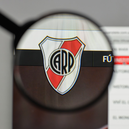 Milan, Italy - August 10, 2017: Club Atletico River Plate logo on the website homepage.