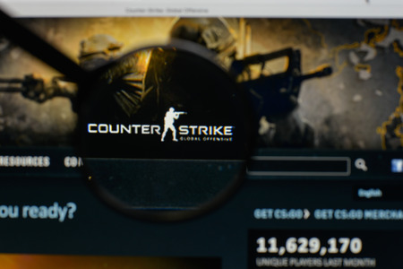 Milan, Italy - August 10, 2017: Counter Strike logo on the website homepage.