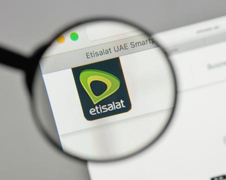 Milan, Italy - August 10, 2017: Etisalat logo on the website homepage.
