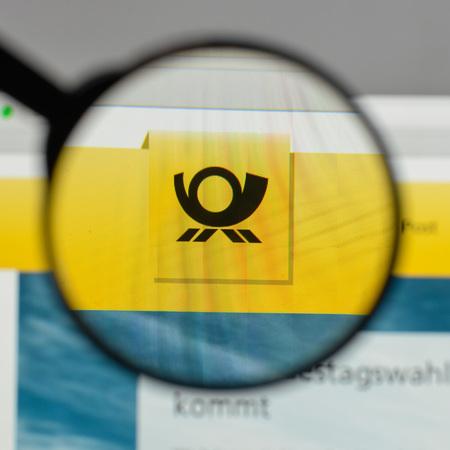 Milan, Italy - August 10, 2017: Deutsche Post DHL Group logo on the website homepage. Sajtókép