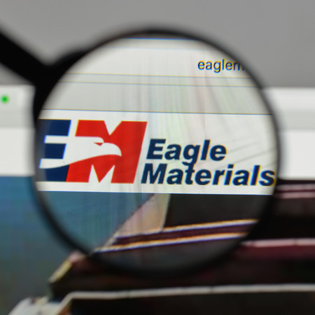 Milan, Italy - August 10, 2017: Eagle Materials logo on the website homepage.