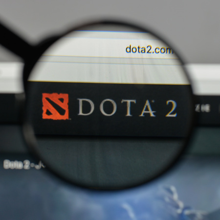 Milan, Italy - August 10, 2017: Dota2  logo on the website homepage.
