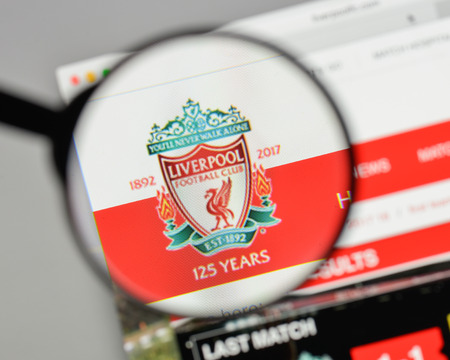 Milan, Italy - August 10, 2017: FC Liverpool logo on the website homepage.