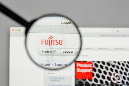 Milan, Italy - August 10, 2017: Fujitsu logo on the website homepage.