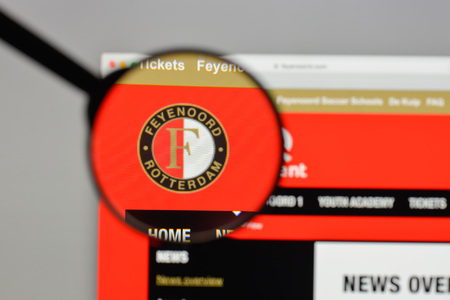 Milan, Italy - August 10, 2017: Feyenoord Rotterdam logo on the website homepage. Editöryel