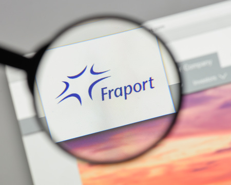 Milan, Italy - August 10, 2017: Fraport AG Frankfurt Airport Services Worldwide logo on the website homepage.