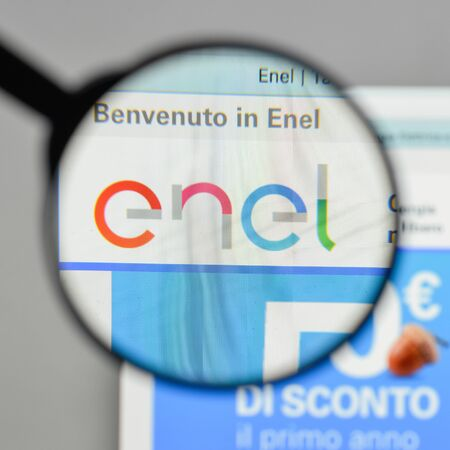 Milan, Italy - August 10, 2017: Enel logo on the website homepage. Editorial