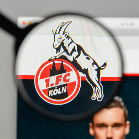 Milan, Italy - August 10, 2017: FC Colonia logo on the website homepage.