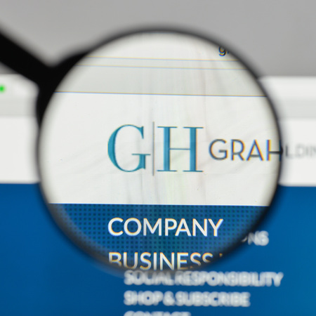 Milan, Italy - August 10, 2017: Graham Holdings logo on the website homepage. Editorial