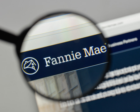 Milan, Italy - August 10, 2017: Fannie Mae logo on the website homepage. Редакционное