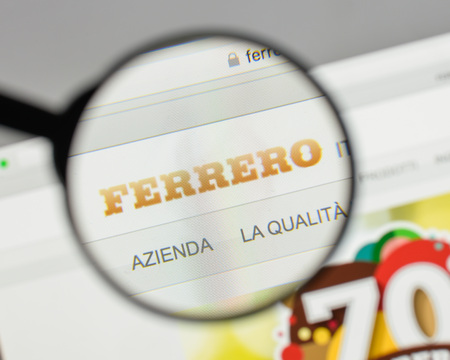 Milan, Italy - August 10, 2017: Ferrero logo on the website homepage. Editorial