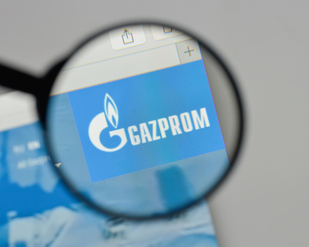Milan, Italy - August 10, 2017: Gazprom logo on the website homepage.