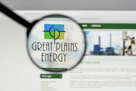 Milan, Italy - August 10, 2017: Great Plains Energy logo on the website homepage.