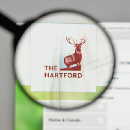 Milan, Italy - August 10, 2017: Hartford Financial Services Group logo on the website homepage. Editorial