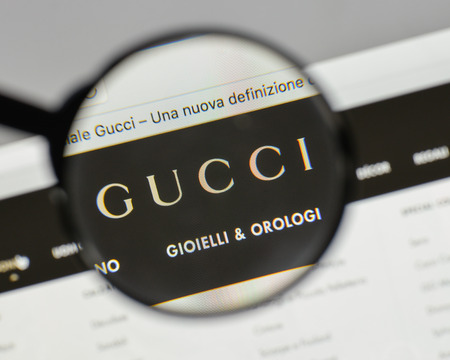 Milan, Italy - August 10, 2017: Gucci logo on the website homepage. Editorial