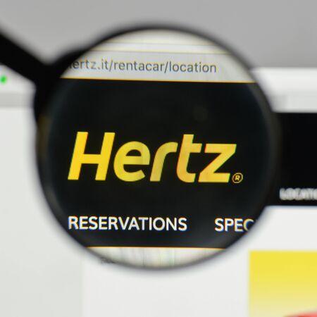 Milan, Italy - August 10, 2017: Hertz logo on the website homepage.