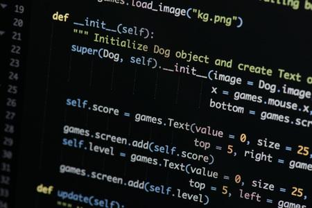 実際のPythonコード開発画面。ワークフロー抽象アルゴリズムの概念をプログラムする。拡大レンズの下に表示される Python コードの行。