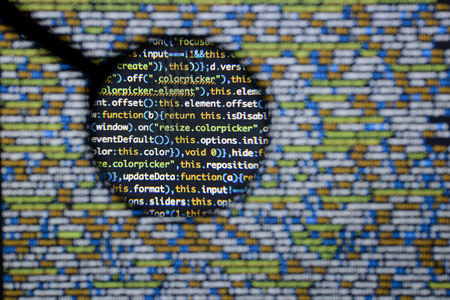 Real Script code developing screen. Programming workflow abstract algorithm concept. Closeup of Script and HTML code. Stock Photo
