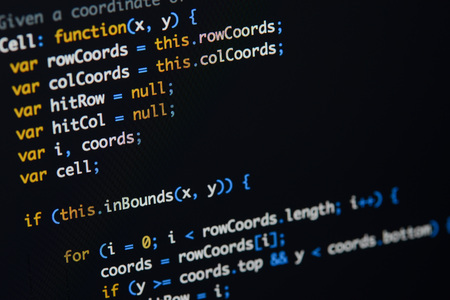 Real Java Script code developing screen. Programing workflow abstract algorithm concept. Closeup of Java Script and HTML code. 写真素材