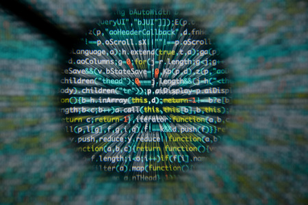 Real Java Script code developing screen. Programing workflow abstract algorithm concept. Closeup of Java Script and HTML code. Standard-Bild