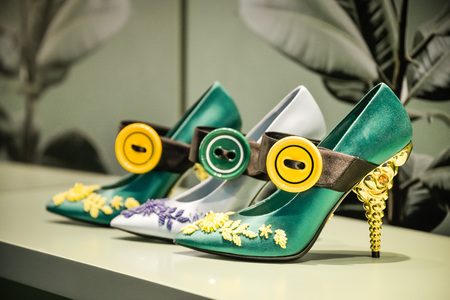 Milan, Italy - September 24, 2017:  Prada shoes in a Milan store