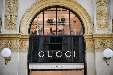 Milan, Italy - September 24, 2017:  Gucci store in Milan. Fashion week Gucci shopping Editorial