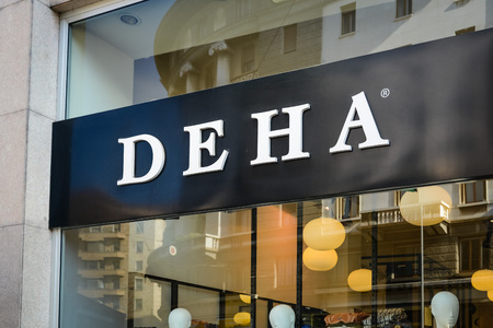 Milan, Italy - September 24, 2017:  Deha store in Milan. Fashion week Deha shopping