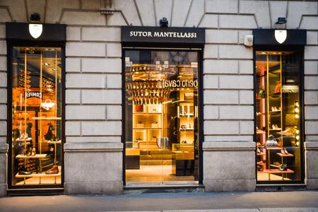 Milan, Italy - September 24, 2017:  Sutor Mantellassi store in Milan. Fashion week Sutor Mantellassi shopping