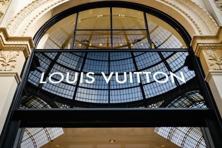 Milan, Italy - September 24, 2017:  Louis Vuitton store in Milan. Fashion week Louis Vuitton shopping